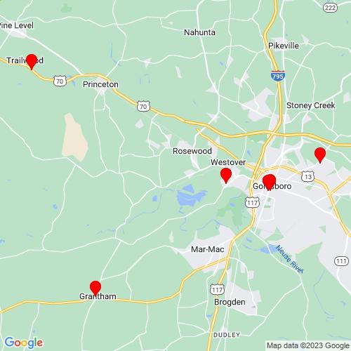 Map of Goldsboro, NC
