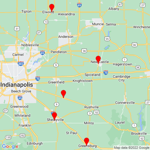 Map of Greenfield, IN