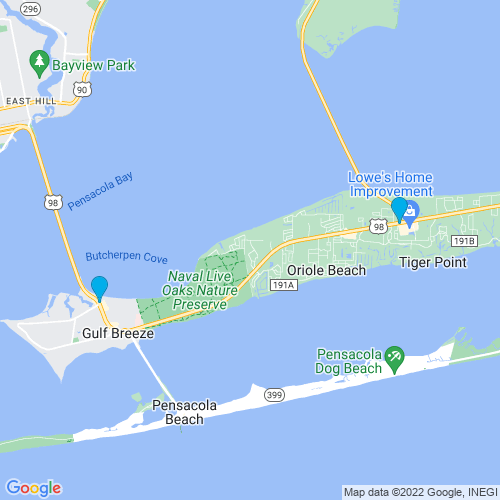 Map of Gulf Breeze, FL
