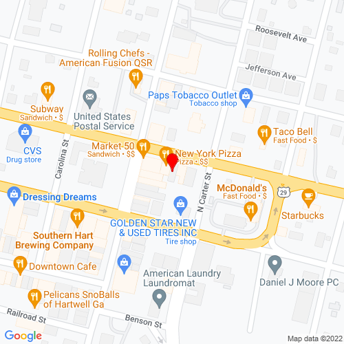 Map of Hartwell, GA