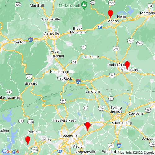 Map of Hendersonville, NC