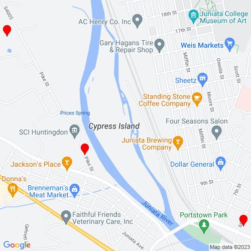Map of Huntingdon, PA