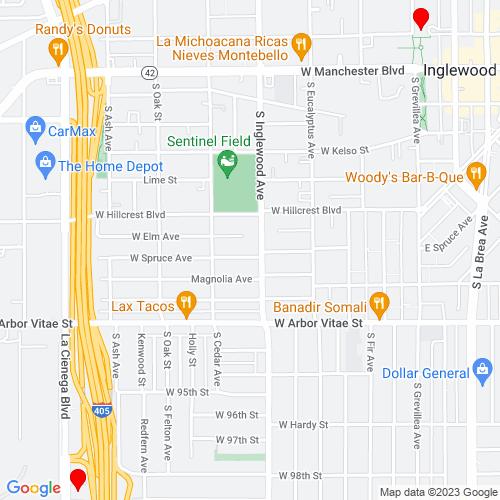 Map of Inglewood, CA