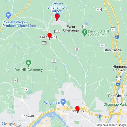 Map of Johnson City, NY