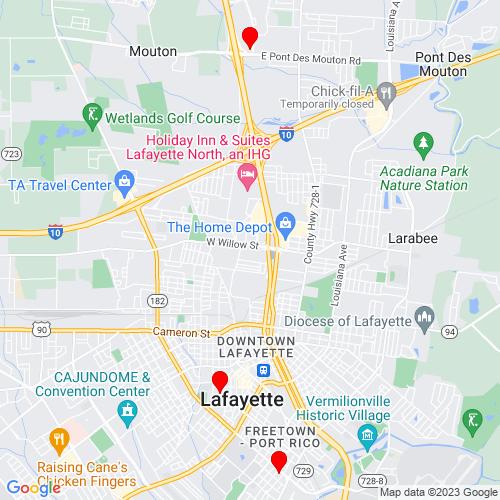 Map of Lafayette, LA