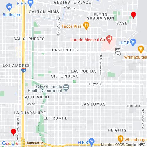 Map of Laredo, TX