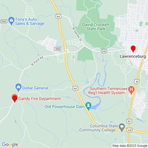 Map of Lawrenceburg, TN