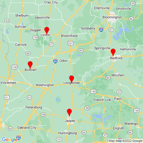 Map of Loogootee, IN