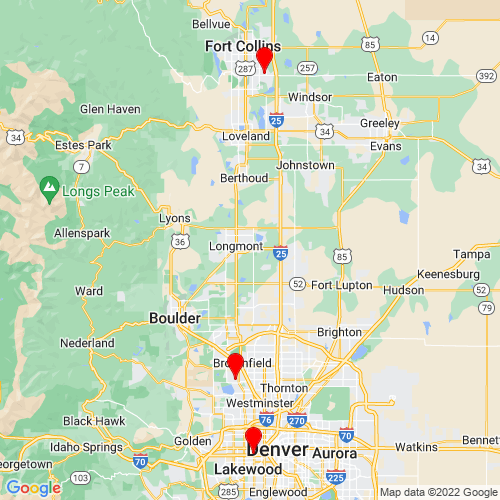 Map of Loveland, CO