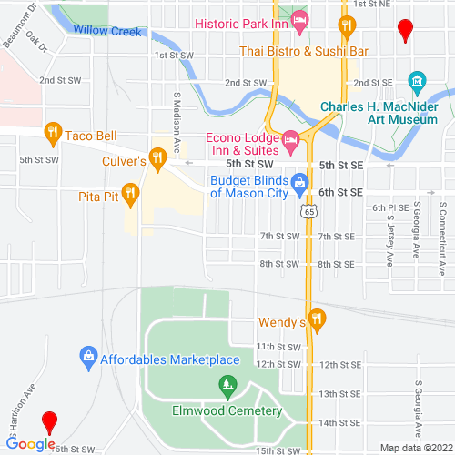 Map of Mason City, IA