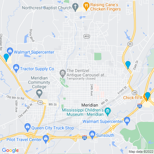 Map of Meridian, MS