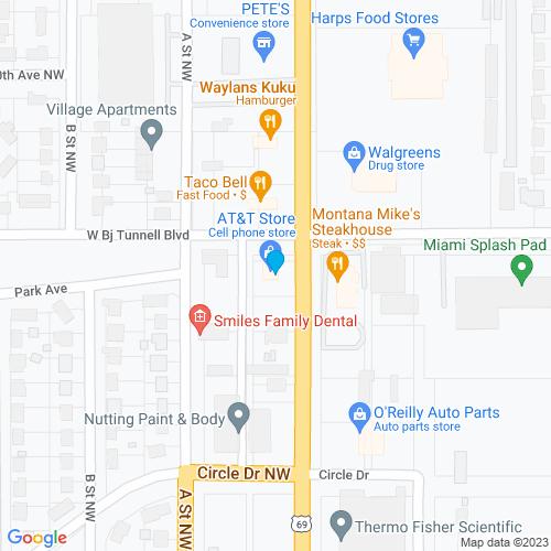 Map of Miami, OK
