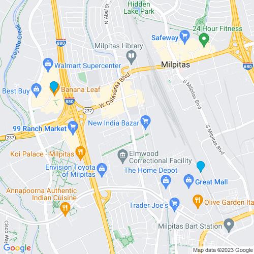 Map of Milpitas, CA