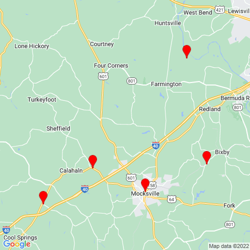 Map of Mocksville, NC