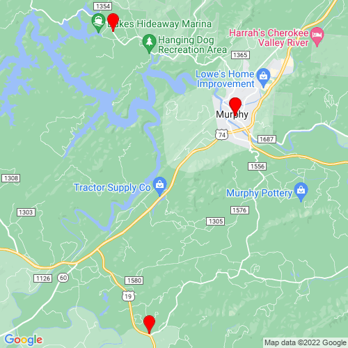 Map of Murphy, NC