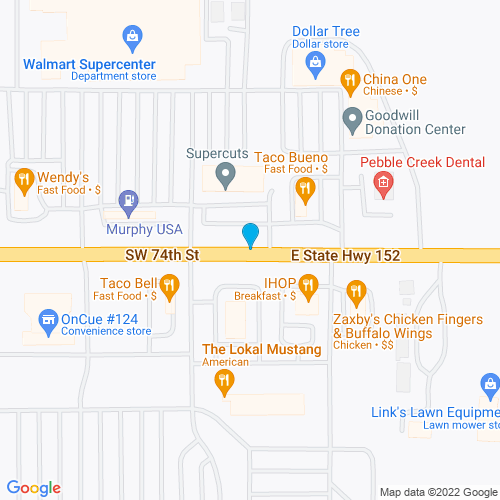 Map of Mustang, OK