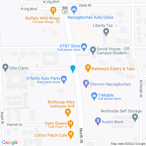 Map of Nacogdoches, TX