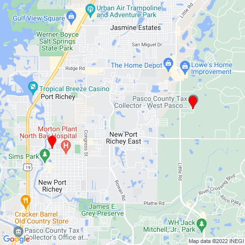 Map of New Port Richey, FL