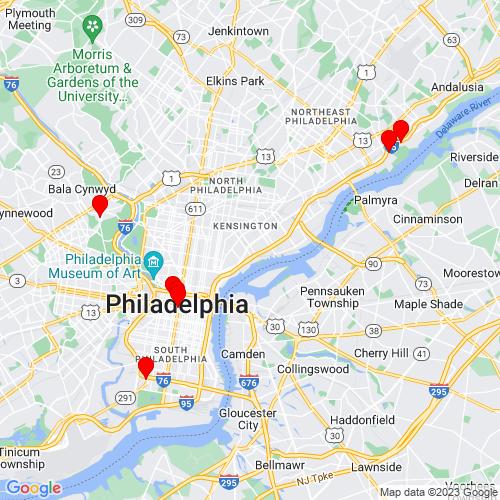 Map of Philadelphia, PA