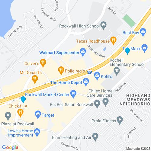 Map of Rockwall, TX