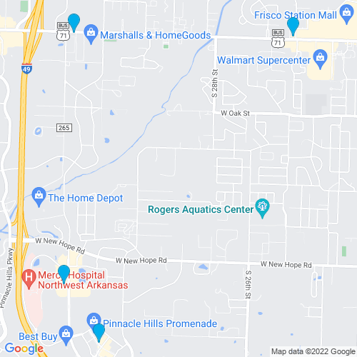 Map of Rogers, AR