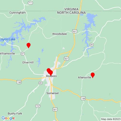 Map of Roxboro, NC