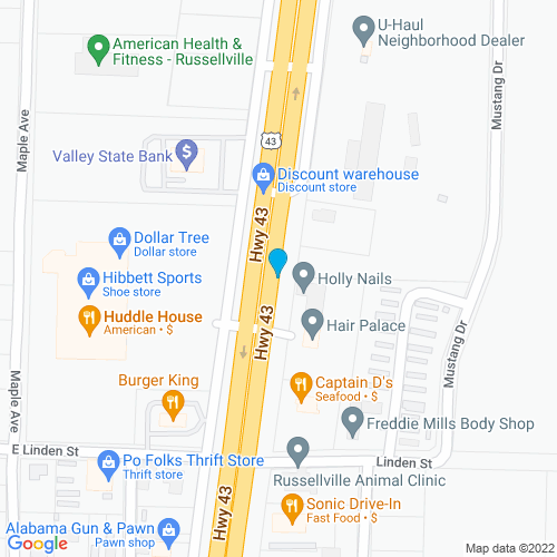 Map of Russellville, AL