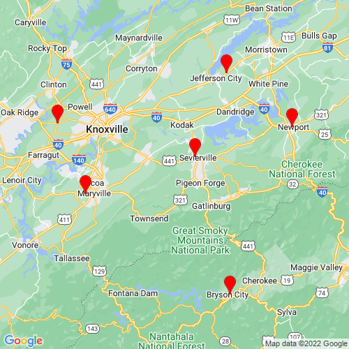 Map of Sevierville, TN