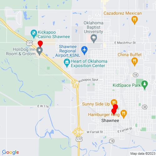 Map of Shawnee, OK