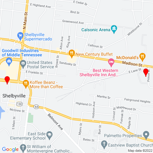 Map of Shelbyville, TN