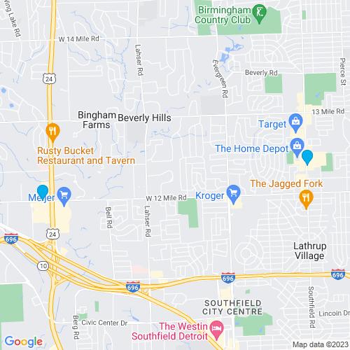 Map of Southfield, MI