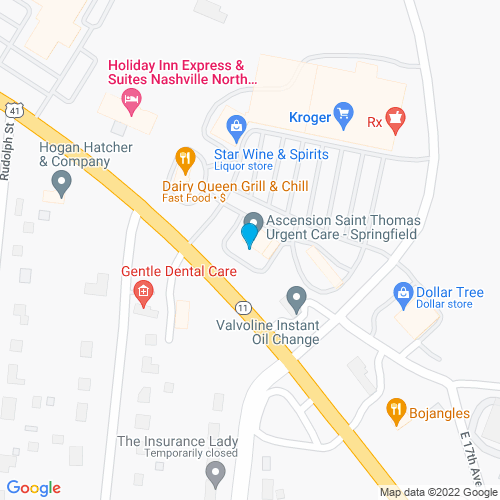 Map of Springfield, TN