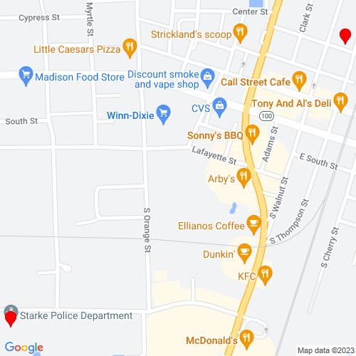 Map of Starke, FL