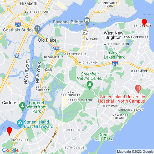 Map of Staten Island, NY