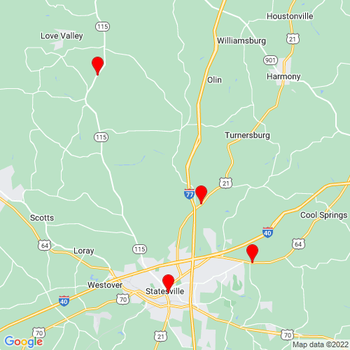Map of Statesville, NC