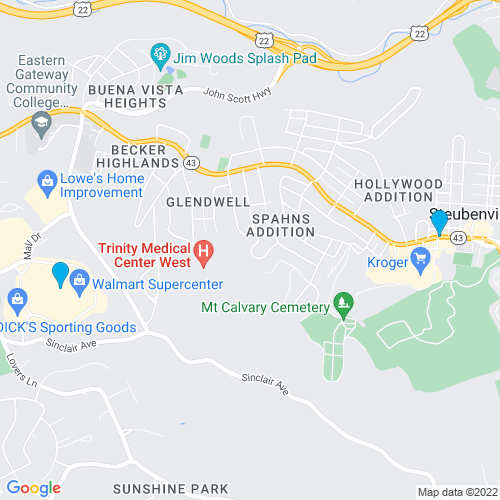 Map of Steubenville, OH