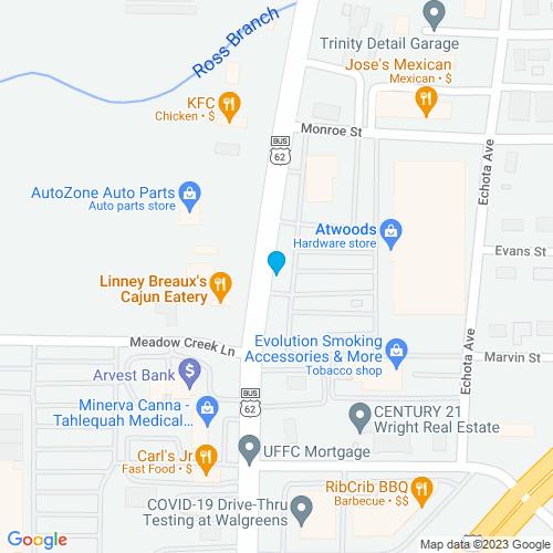 Map of Tahlequah, OK