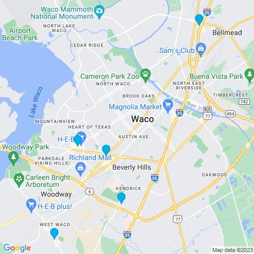 Map of Waco, TX