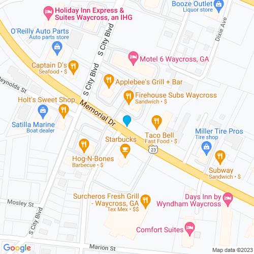 Map of Waycross, GA
