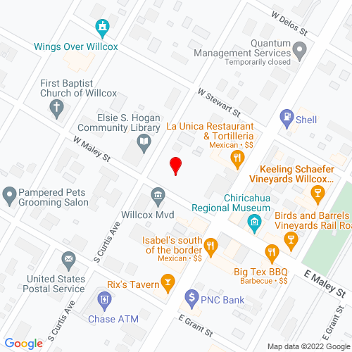 Map of Willcox, AZ