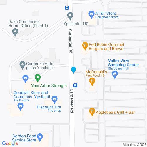 Map of Ypsilanti, MI