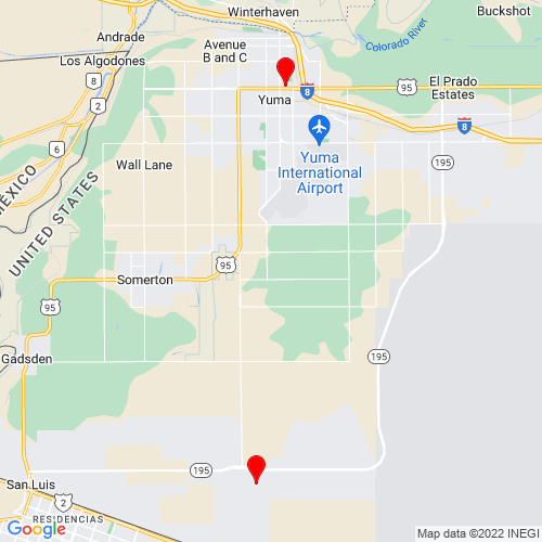 Map of Yuma, AZ