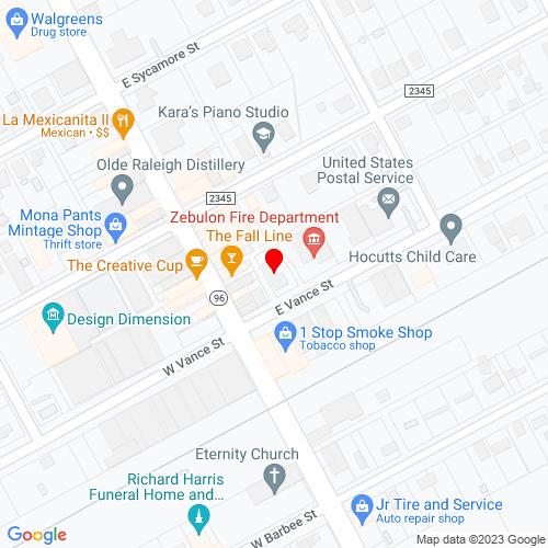 Map of Zebulon, NC