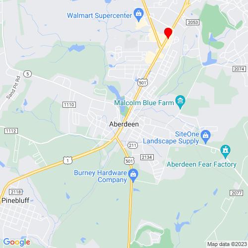 Map of Aberdeen, NC