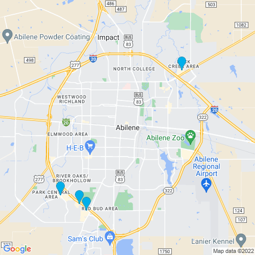 Map of Abilene, TX
