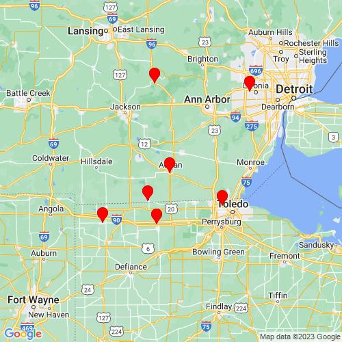 Map of Adrian, MI