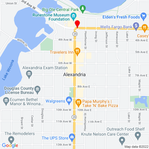 Map of Alexandria, MN
