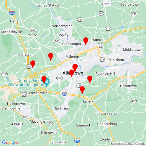Map of Allentown, PA