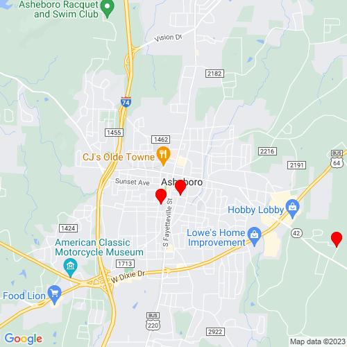 Map of Asheboro, NC