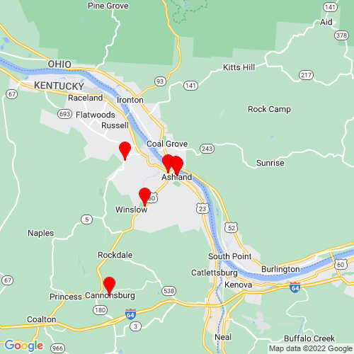 Map of Ashland, KY